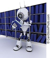 robô, em, estante