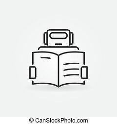 robô, lendo um livro, ícone, -, vetorial, máquina,...