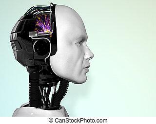 robô, man., rosto