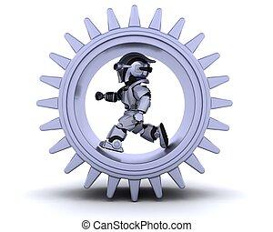 robô, mecanismo, engrenagem