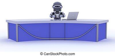 robô, sentado, em, um, escrivaninha, elaboração do relatório, notícia