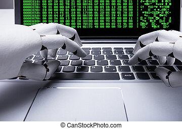 robô, trabalhar, laptop