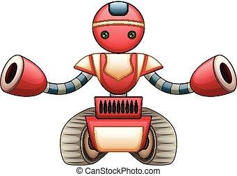 robô, vermelho, caricatura