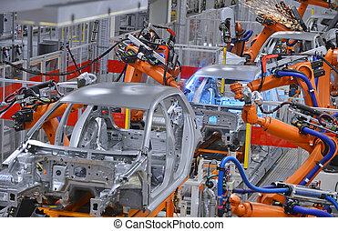 robôs, soldadura, em, fábrica