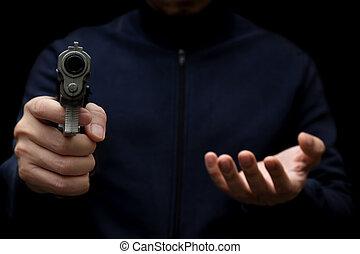 rob, お金。, 銃, おもちゃ, 人, 届く