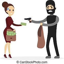 robar dinero, woman.