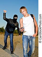 robar, máscara, joven, bandido, tratar, hombre