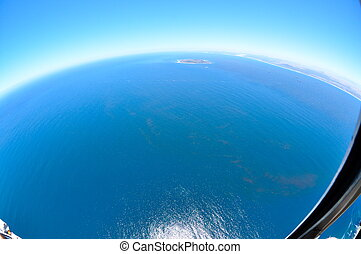 Robben Island - Fish Eye - Robben Island from helicopter...