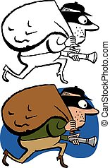 Robber - A cartoon of a thief sneaking off with a bag of...
