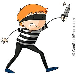 Robber - Closeup angry robber holding a knife