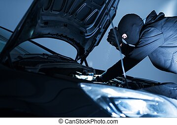 Robber Disabling Car Alarm