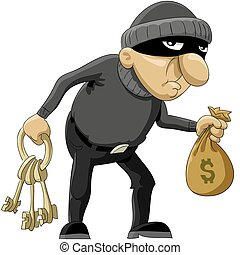 Robber - The robber in a mask and with money