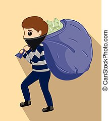 Robber Holding a Money Bag