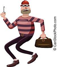 Robber icon, cartoon style - Robber icon. Cartoon...