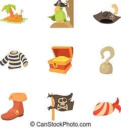 Robber icons set, cartoon style