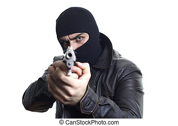 Robber in balaclava pointing a gun at the camera...