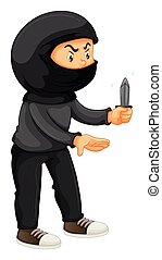Robber in black holding a knife