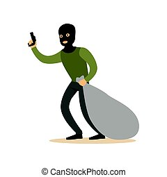 Robber in mask with huge sack and gun. Colorful cartoon character vector Illustration