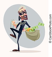 Robber man character stole money and jewelry. Vector flat cartoon illustration