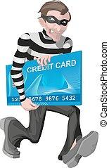 Robber man stole credit card. Stealing money online. ...