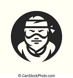 Robber. Masked criminal Vector silhouette sign