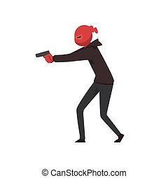Robber or Burglar Dressed in Black Clothes and Mask Standing with Gun Vector Illustration