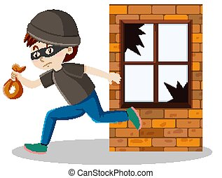 Robber or thief broke the window glass and holding small ...