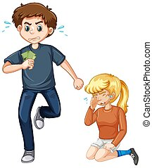 Robber running with money and girl crying