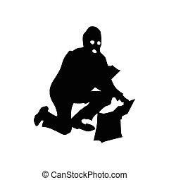 Robber silhouette black