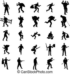 Robber silhouette set