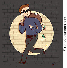 Robber with a bag full of money, vector illustration