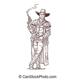 Robber with a smoking gun - Vector illustration contour of a...