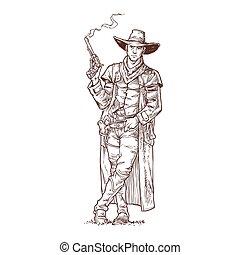 Robber with a smoking gun - Vector illustration contour of a...