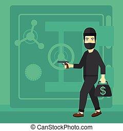 Robber With Gun Near Safe