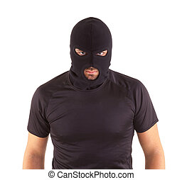 Robber with masked - Man in a mask on white background