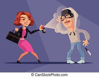 robbers., ベクトル, 彼女自身, 漫画, 平ら, 保護される, イラスト, 女, 特徴