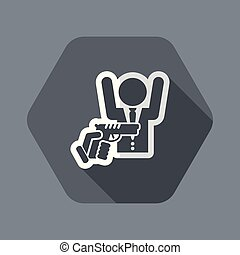 Robbery - Flat and isolated vector illustration icon with...