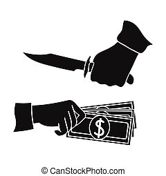 Robbery icon in black style isolated on white background....