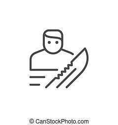 Robbery or burglary line outline icon isolated on white. ...