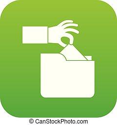 Robbery secret data in folder icon digital green