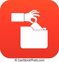 Robbery secret data in folder icon digital red
