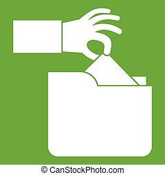 Robbery secret data in folder icon green