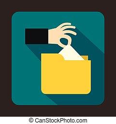 Robbery secret data in yellow folder icon
