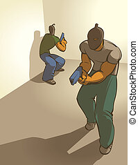 Robbery - Two men in masks with guns. Vector illustration.