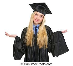 robe, épaules, femme, clueless, jeune, remise de diplomes, gesticulation