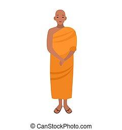 robe., 亞洲人, clothing., 宗教, 被給穿衣, 佛教徒, 字, 被隔离, 長, 背景。, 橙, 白色, 穿, 套間, 鮮艷, 西藏人, 卡通, illustration., 僧侶, 傳統, 矢量, 男性, monastic