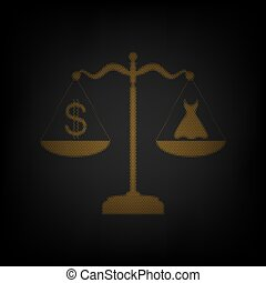robe, ampoule, dollar, icône, orange, balances., petit, grille, illustration., symbole, darkness.