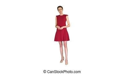 robe, beau, blanc, appareil photo, femme, rouges, excité, conversation, jeune, arrière-plan.