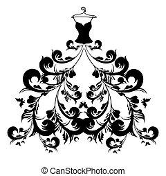 robe, blanc, noir, conception, mariage