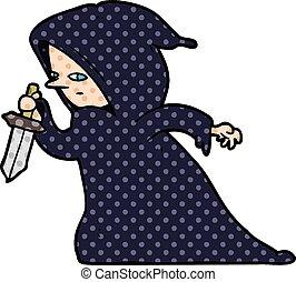 robe, dessin animé, sombre, assassin